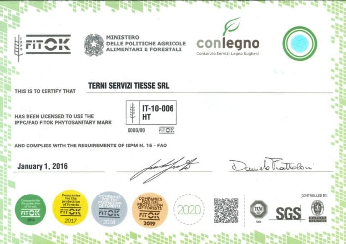 certificate fitok tiesse